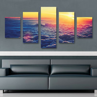Wholesale Sunrise Oil Painting - 5 Panel SUNRISE The Family Decorates Print in The Oil Painting On Canvas,Wall Art Picture Gift cuadros de lienzo