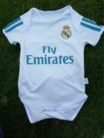 Wholesale Unisex Baby Clothing - kids 17 18 Real Madrid Baby soccer Jerseys Cotton Short Sleeved Jumpsuit Baby Triangle Climb Clothes Loveclily 2018 RONALDO baby jerseys
