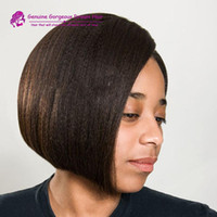 Wholesale french yaki full lace wigs for sale - Group buy Short Bob Italian Yaki Lace Front Wig Unprocessed Brazilian Human Hair Glueless Full Lace Bob Wigs Light yaki For Black Women
