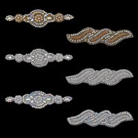 Wholesale Bling Flower Flatback - 20pc Handmade Fashion Headbands Bling Beaded Ab Rhinestone Applique Sew on Manual Flatback Crystal Flower Cloth for Hair Accessories