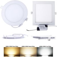 Wholesale Led Ceiling Grid - Ultra Thin Design 3W 4W 6W 9W 12W 15W 18W 21W LED Surface Ceiling Panel Light Recessed Grid Downlight Round Square Indoor lights AC110-265V