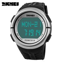 Wholesale Digital Monitor Calories - Wholesale-SKMEI brand Men casual sports watch LED digital heart rate Calorie Counter Pedometer Watches Sports Fitness Men Women Watch