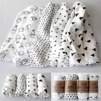 Wholesale Zig Zag Baby Blanket - 120*120cm 100% Muslin Cotton INS Baby Swaddles Newborn Baby Blankets Double Layer Gauze Bath Towel Hold Wraps