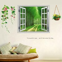 Wholesale Outside Sofa - Free Shipping Free Shipping fake window stickers bedroom wall stickers living room sofa backdrop scenery outside the window