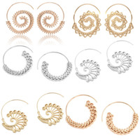 Wholesale 14k gold filled hoop - Vintage Gold Boho Jewelry Women Circles Round 14 Styles Swirl Wave Style Wire Hoop Statement Earrings Top Seller Preferred Free DHL D158S