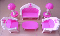 Wholesale Vintage Plastic Dolls - Girl birthday gift plastic vintage sofa couch desk lamp 6 items Set accessories for barbie doll,for monster high