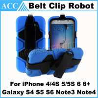 Wholesale Military Duty Hybrid Iphone - Hybrid Military Compact Heavy Duty Shockproof Stand Belt Clip Case Cover for iPhone 4 5S 6 Plus Galaxy S4 S5 S6 Note3 Note4 Kickstand 500pcs