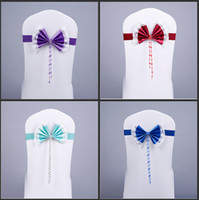 Wholesale Diamond Buckle Sash - Luxury Crystal Diamond Buckle Stain Bow Spandex Chair Cover Sashes Lace Flower Side Sashes For Wedding Decoration Supplies