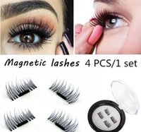 Wholesale Synthetic Feather Extensions - Magnetic Eye Lashes 3D Mink Reusable False Magnet Eyelashes Extension 3D Eyelash Extension Magnetic Eyelashes 4pcs set extensions magnetic
