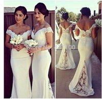 Wholesale Vintage Cream Lace Dress - Plus Size Lace Bridesmaid Dresses Long Off The Shoulder Vintage 2016 With Short Sleeves Wedding Party Dresses Mermaid Cream