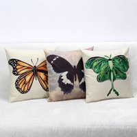 """Wholesale Vintage Butterfly Cushion - Home Decor Mulit Big Butterfly Zip Cotton Linen Cushion Cover Pillow Case18""""Square Throw Pillow Case Cushion Cover Shams Vintage"""