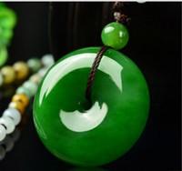 Wholesale hotan jade - AAAAAAA Hot Xinjiang's hotan Green Jade Luckly pendant peace buckle jade Pendant Necklaces 22-24mm Fast Shipping! Free Gift !