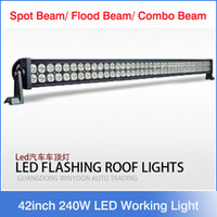 "Wholesale White Led Work Light Bar - 42"" inch 240W 24000lm LED Work Light Bar Off-Road 9-32V Boat 80-LED*(3W ) Spot Flood Combo Beam Jeep Truck Lamp IP67 Super White"