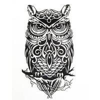 henna tinte groihandel-Große Schwarze Eule Arm Fake Transfer Tattoo Aufkleber Temporäre Tattoos Hot Sexy Männer Frauen Spray Wasserdichte Designs