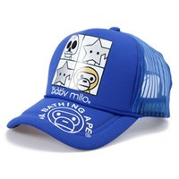 Wholesale Blue Monkey Cartoons - Wholesale-cartoon monkey trucker cap mesh net summer outdoor sport cap truck men hip hop sun hats Visor baseball hat women unisex B227