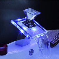 Wholesale Waterfall Faucet Taps - LED Waterfall Spout Bathroom Basin Faucet Chrome Brass Glass Vanity Sink Mixer Tap