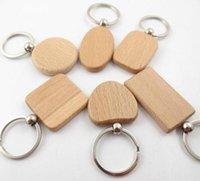 cadeia geométrica venda por atacado-Chaveiro de chave de formas geométricas de chave de madeira em branco chaveiro personalizado