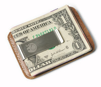 Wholesale Clipping Horses - Vintage Genuine Leather Money Clip Crazy Horse Leather Slim Money Wallet For Men With Metal Money Clamp Credit Card Case Holder