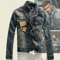 Wholesale vintage denim jackets for men - Vintage brand men denim jacket new tide star slim denim jackets for men fashion casual turn down collar jackets men free shipping