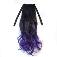 Wholesale Charm Ponytail - Charming Black Mixed Purple Two Tone Ombre Colorful Chignon Ponytail 45cm Long Softed Wave Synthetic Ribbon Ponytails Clip In Extensions
