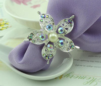 10pcs AB strass perle Fleur Rond de serviette Porte-Serviette Buckle Hôtel Wedding Party Decor Favour