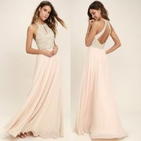 Wholesale gold peach sequin dress - 2018 Peach Chiffon Bridesmaid Dresses Beaded Sequined Top Halter Neck A Line Pleats Long Maid of Honor Gowns Maternity Dress