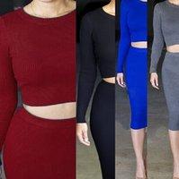 742d2de7dc7 2015 Women two pieces plus size Crochet dresses Suits Ladies Long Sleeve  Slim Package hip Pencil bodycon short party dresses