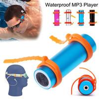 Wholesale 4gb mp3 player pink online - IPX8 Waterproof MP3 Player Built in GB GB Swimming Diving Stereo Earphone Sport Underwater FM Radio Headphone USB Charging Cable Arm Brand