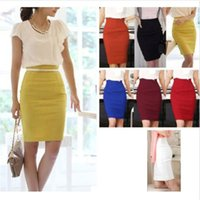 Wholesale High Waist Fitted Business Skirts - New Office Pencil Skirt Women Fitted Business Knee Long Slimming High Waist