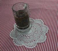 handgefertigte häkeltücher groihandel-handgemachte gehäkelte Deckchen Vintage weiße Blume, Spitze häkeln Deckchen Tasse Matte Vase Matte Untersetzer 22cm / 9