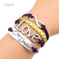 Infinity Wish One Direction Love Charm Wrap Braceletes Leather Wax Braceletes Unisex kid child girls Mulheres Moda Jóias Gift Custom