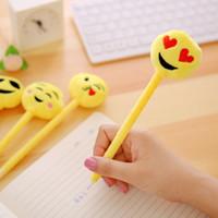 ingrosso cancelleria di moda kawaii-Emoji Ballpiont Pen Moda Cartoon Penne Carino materiale scolastico creativo Kawaii Student Gift Stationery Office Gift