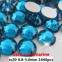 Wholesale Cut Aquamarine - 1440pcs   lot dark aquamarine ss20(4.8-5.0mm) crystal glass Rhinestone flatback rhinestones silver foiled free shipping