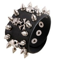 Wholesale Mens Bracelet Spike Leather - Wholesale-23cm PUNK style the ROCK spike and skull head mens leather bracelet jewelry factory snap bracelets & bangles cuff bangle