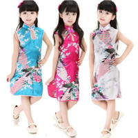 qipao vestido menina venda por atacado-1 PCS 4 Cores Retro Roupas Pavão Chinês Cheongsam Vestido / Qipao Para Kid Baby Girl