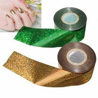 Wholesale Art Foil Rolls - New Arrived Gold Green Nail Art Stickers Mix color Starry Sky Nail Foil Decals Decoration DIY Design Tools 4CM*110-120M Roll