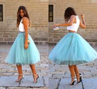 xs vestidos de cóctel al por mayor-Tutu tul faldas longitud de la rodilla con gradas puffy cintura elástica vestidos de cóctel princesa luz azul cielo colorido busto faldas baratos