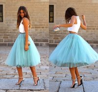Wholesale Cheap Elastic Waist Skirts - Tutu Tulle Skirts Knee Length Tiered Puffy Elastic Waist Cocktail Party Dresses Princess Light Sky Blue Colorful Bust Skirts Cheap