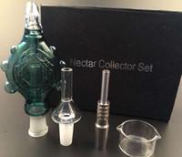 nektar sammler anhänger großhandel-Tragbare Nektar Collector Perc Anhänger mit GR2 14MM Titan Nagel Quarz Nagel Ölplattform Mini Glas Bong verschütten Konzentrat-Rohr