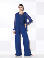 Wholesale Green Ladies Pajamas - Lace Royal Blue Mom's Pant Suits Pajamas Scoop Neck Lady Women Prom Suits with Long Jacket Lady Evening Dresses d118
