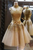 Wholesale Tea Length Wedding Dress Hollow - 2016 Short Dress Strapless Tea Length Tulle  Lace Hollowed Halter High Guality Wedding Dresses Outdoor Bridal Gowns Party Dress