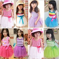 Wholesale Striped Purple Girl Dress - girl lace striped tutu dress baby girl sundress rainbow striped tutu dress princess dress bow girl lace Purple green pink blue free shipping