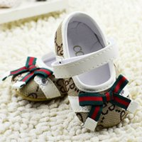 Wholesale First Knot - Hot sale sweet 2016 baby girl princess shoes pure colors soft sole shoes infant leisure butterfly-knot first walkers girl toddler shoes