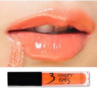 Wholesale Orange Light Lip Gloss - Wholesale-Make up 3 concept eyes Moisture Orange light color liquid lipstick lip gloss pigment