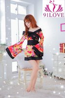 Wholesale Knitted Robe Costume - 91LOVE Sexy lingerie kimono set Flowers robe cosplay role play clothes sexy costumes Exotic lingerie underwear women sex products slips
