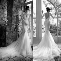 Wholesale Beach Wedding Dresses Mermaid Style - 2015 Sexy Russian Style Berta Mermaid Wedding Dresses with Illusion Long Sleeves Deep V Neck Lace Backless Court Train Tulle Bridal Gowns