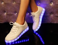 Wholesale Valentines Costume Accessories - Wholesale-New Simulation LED Luminous Shoes Women Sneakers Unisex Led Light Sneakers for Lover Valentines chaussure lumineuse