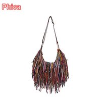 Wholesale Genuine Leather Fringe Handbags - Wholesale-Hot! 100% Genuine Leather Tassel Bags Fashion Tote Women Shoulder Bag Fringe Patchwork Handbags