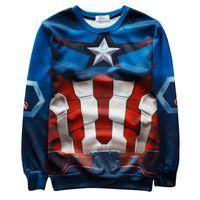 Wholesale Woman Superman Hoodie - w1208 Alisister 2015 new fashion men women's captain america sweatshirt printed superman Flowers graphic hoodie 3d Harajuku sweatshirt