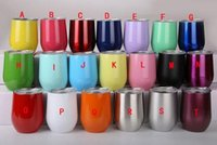 Wholesale 24 Cups - New 24 colors Stemless wine Cups 9 oz Stemless Beer Wine Glass Shaped Cup Stainless steel Powder Coated Wine mugs with Lid